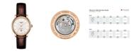 Tissot Women's Carson Premium Swiss Automatic Brown Leather Strap Watch 30mm