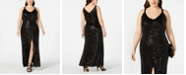 Nightway Plus Size Geo-Sequined Slit Gown