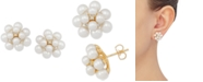 Honora Cultured Freshwater Pearl (3-5mm) & Diamond (1/10 ct. t.w.) Stud Earrings in 14k Gold