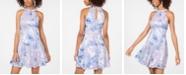 Emerald Sundae Juniors' Printed Laser-Cut Fit & Flare Dress