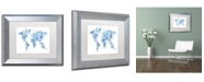 "Trademark Global Michael Tompsett 'Robot Map of the World Blue' Matted Framed Art - 11"" x 14"""