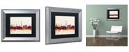 """Trademark Global Michael Tompsett 'Paris France Skyline' Matted Framed Art - 11"""" x 14"""""""
