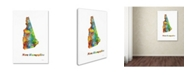"Trademark Global Marlene Watson 'New Hampshire State Map-1' Canvas Art - 12"" x 19"""