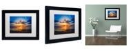 """Trademark Global PIPA Fine Art 'Sunset Breakwater Lighthouse' Matted Framed Art - 11"""" x 14"""""""