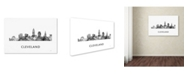 "Trademark Global Marlene Watson 'Cleveland Ohio Skyline WB-BW' Canvas Art - 12"" x 19"""