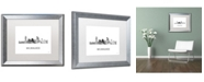 "Trademark Global Marlene Watson 'Milwaukee Wisconsin Skyline WB-BW' Matted Framed Art - 16"" x 20"""