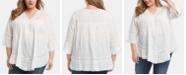 Karen Kane Plus Size Cotton Lace-Inset Top
