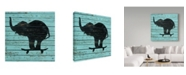 "Trademark Global J Hovenstine Studios 'Elephant On Skateboard On Old Board' Canvas Art - 24"" x 24"""