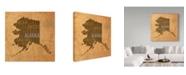 "Trademark Global Red Atlas Designs 'Alaska State Words' Canvas Art - 18"" x 18"""