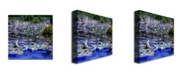 """Trademark Global Michelle Calkins 'Water Lilies in the River' Canvas Art - 18"""" x 18"""""""