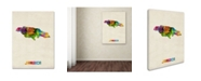 "Trademark Global Michael Tompsett 'Jamaica Watercolor Map' Canvas Art - 18"" x 24"""