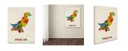 "Trademark Global Michael Tompsett 'Pakistan Watercolor Map' Canvas Art - 18"" x 24"""