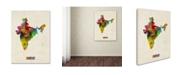 "Trademark Global Michael Tompsett 'India Watercolor Map' Canvas Art - 18"" x 24"""
