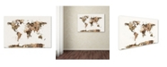 "Trademark Global Michael Tompsett 'Map of the World Sepia Watercolor' Canvas Art - 16"" x 24"""