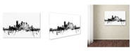 "Trademark Global Michael Tompsett 'Pittsburgh PA Skyline B&W' Canvas Art - 22"" x 32"""