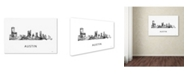 "Trademark Global Marlene Watson 'Austin Texas Skyline WB-BW' Canvas Art - 30"" x 47"""