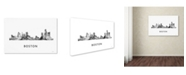 "Trademark Global Marlene Watson 'Boston Mas Skyline WB-BW' Canvas Art - 30"" x 47"""
