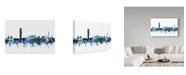 "Trademark Global Michael Tompsett 'Malmo Sweden Blue Teal Skyline' Canvas Art - 32"" x 22"""
