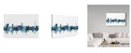 "Trademark Global Michael Tompsett 'Bremen Germany Blue Teal Skyline' Canvas Art - 32"" x 22"""