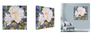 "Trademark Global Sharon Pitts 'White Peony Dark Blue' Canvas Art - 24"" x 24"""