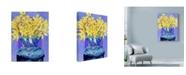 "Trademark Global Sharon Pitts 'Daffodils In Cobalt' Canvas Art - 35"" x 47"""
