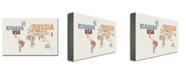 """Trademark Global Michael Tompsett 'World Text Map' Canvas Art - 47"""" x 30"""""""