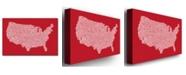 "Trademark Global Michael Tompsett 'US City Map XI' Canvas Art - 47"" x 30"""