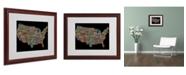 """Trademark Global Michael Tompsett 'US Cities Text Map II' Matted Framed Art - 20"""" x 16"""""""