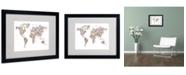 """Trademark Global Michael Tompsett 'Stars World Map' Matted Framed Art - 20"""" x 16"""""""
