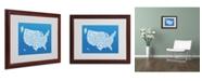 """Trademark Global Michael Tompsett 'SUMMER-USA States Text Map' Matted Framed Art - 20"""" x 16"""""""