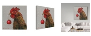 """Trademark Global Mary Miller Veazie 'Rooster With Red Xmas Ball' Canvas Art - 14"""" x 14"""""""