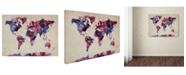 "Trademark Global Michael Tompsett 'Watercolor Map' Canvas Art - 14"" x 19"""