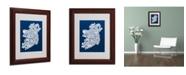 """Trademark Global Michael Tompsett 'NAVY-Ireland Text Map' Matted Framed Art - 14"""" x 11"""""""