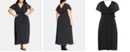 City Chic Trendy Plus Size Dot-Print Faux-Wrap Maxi Dress