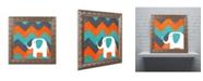 "Trademark Global Nicole Dietz 'Elephant on Chevron' Ornate Framed Art - 11"" x 11"""