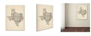 """Trademark Global Michael Tompsett 'Old Sheet Music Map of Texas' Canvas Art - 14"""" x 19"""""""