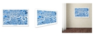 "Trademark Global Michael Tompsett 'London England Street Map 3' Canvas Art - 12"" x 19"""
