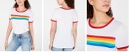 Love Tribe Juniors' Rainbow Stripe Graphic Ringer T-Shirt