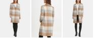 DKNY Single-Breasted Plaid Coat, Created for Macy's