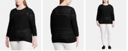 Lauren Ralph Lauren Plus Size Pointelle-Knit 3/4-Sleeve Sweater