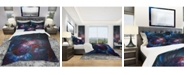 Design Art Designart 'Light Blue Fractal Flower In Dark' Modern and Contemporary Duvet Cover Set - Twin