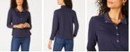Karen Scott Sport Contrast-Trim Snap-Front Top, Created for Macy's