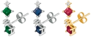 Macy's Emerald (5/8 ct. t.w.) & Diamond Accent Stud Earrings in 14k White Gold(Available In Sapphire and Certified Ruby)