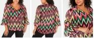 INC International Concepts INC Plus Size Chevron-Striped Surplice Top, Created for Macy's