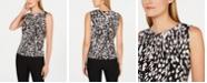 Calvin Klein Petite Animal Print Pleated-Neck Top