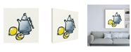 "Trademark Global Chris Paschke Tea and Lemons Navy Canvas Art - 36.5"" x 48"""