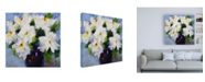 "Trademark Global Pamela Gaten White Peony Bouquet Canvas Art - 15.5"" x 21"""