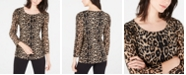 INC International Concepts INC Petite Printed Puff-Shoulder Top, Created For Macy's