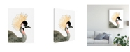 "Trademark Global Naomi Mccavitt Watercolor Crested Crane Canvas Art - 15"" x 20"""