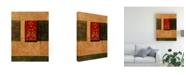 "Trademark Global Pablo Esteban Red Stamp Orange 2 Canvas Art - 36.5"" x 48"""